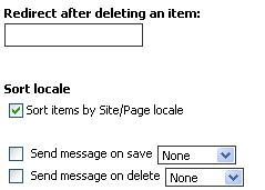 Options for the item edit portlet - redirect after delete