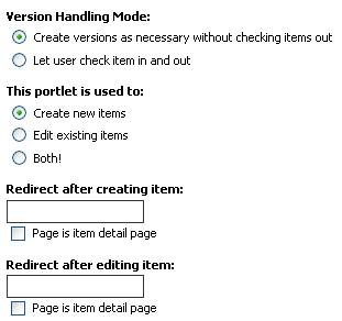 Options for the item edit portlet - redirecting after create/edit